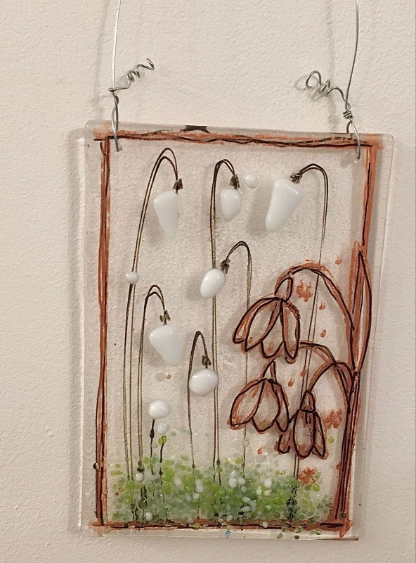 Fused glass snowdrop hanging panel