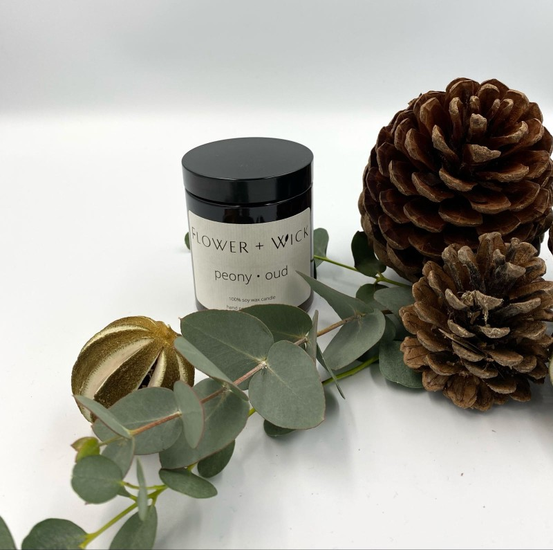 Flower + Wick Soy Candle:Peony and Oud