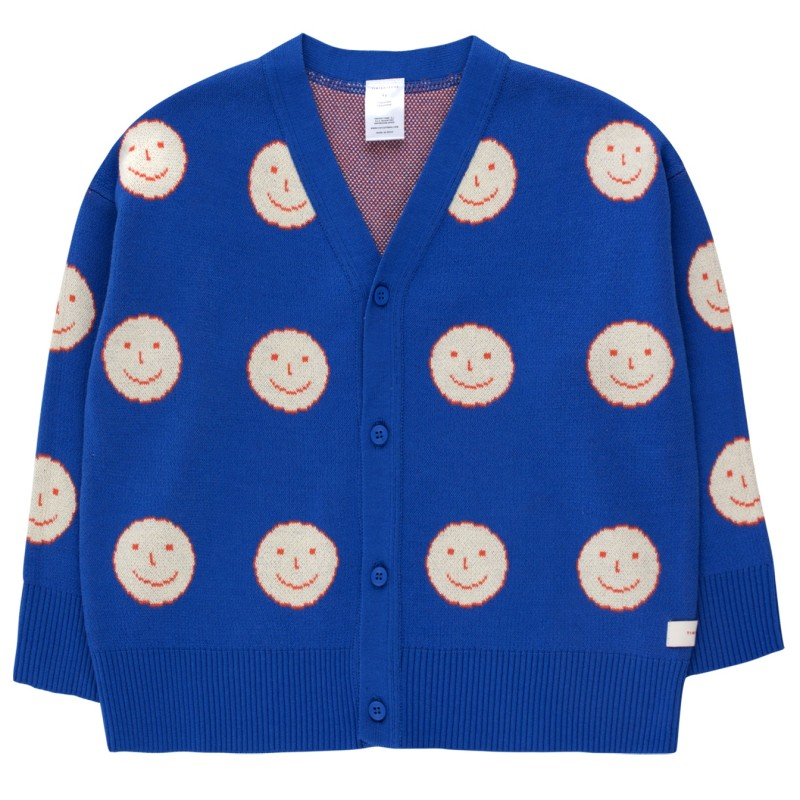 Tinycottons Happy Face Cardigan Ultramarine/Cream