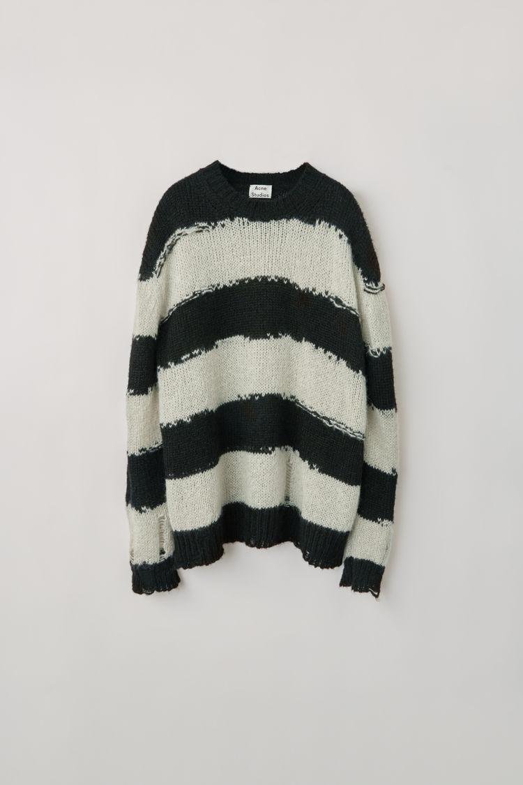 Acne Distressed striped sweater black/grey
