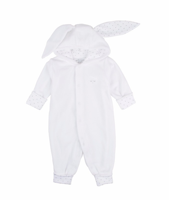 Livly Bunny Overall White Plush W Silver Dots