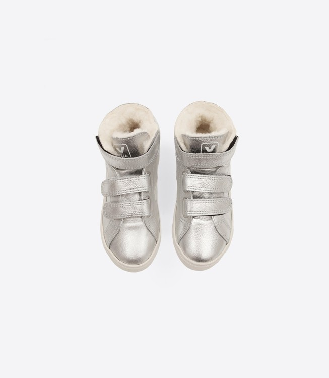 Veja Esplar Mid Leather Mat Fured Silver