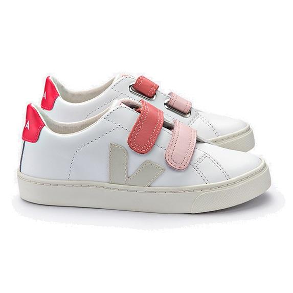 Veja Esplar Small Velcro Leather Extra White Pierre Velcro Rose