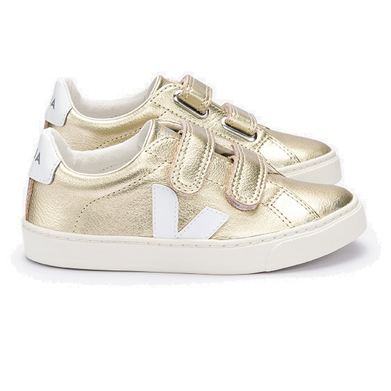 Veja Esplar Small Velcro Leather Gold White