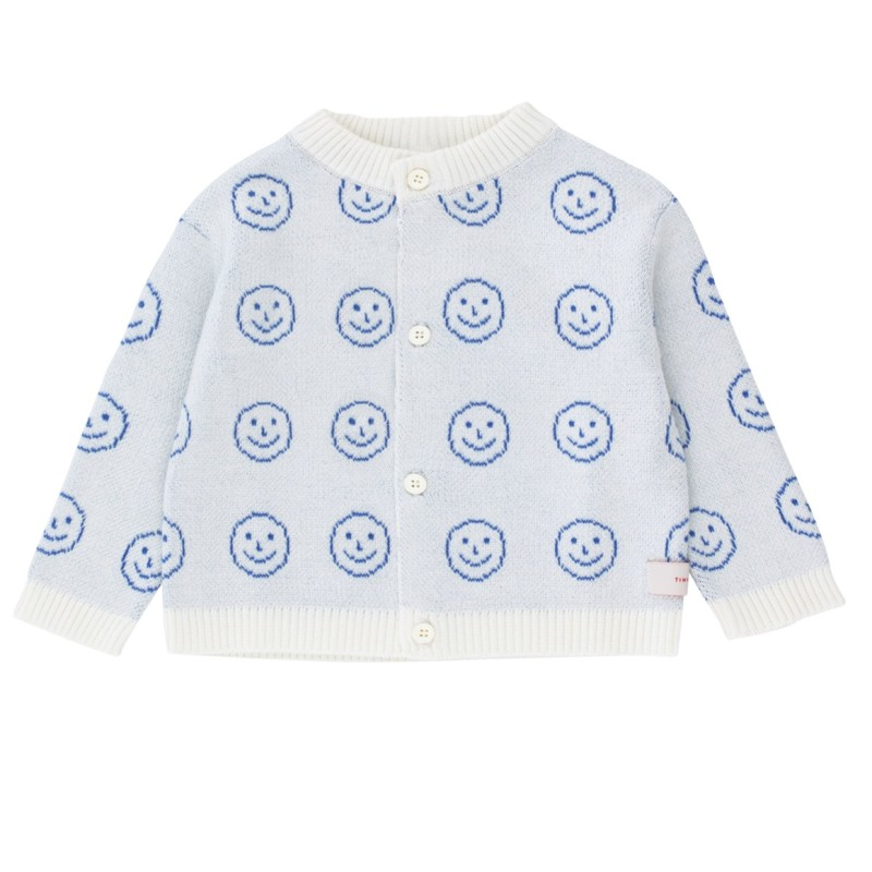 Tinycottons Happy Face Baby Cardigan Off-White/Ultramarine