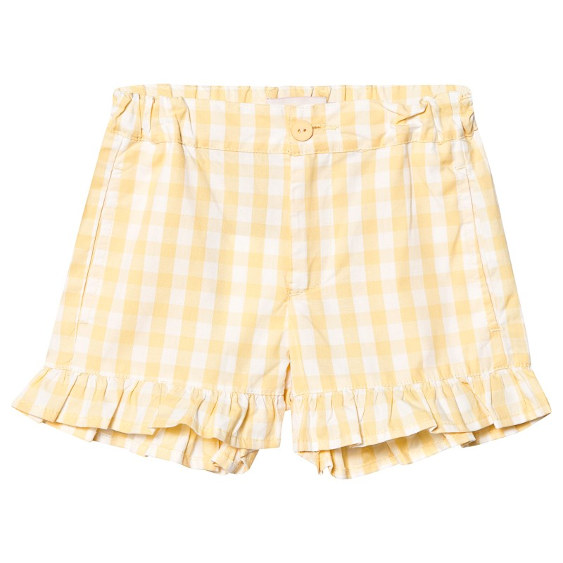 Tinycottons Check Short Off-White/Canary