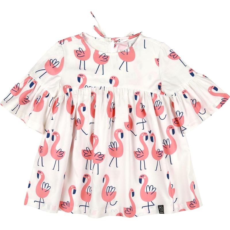 Kukukid Oversized dress white flamings