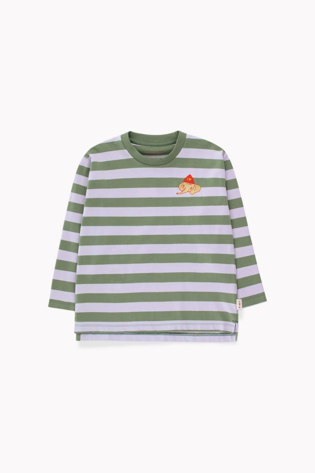 Tinycottons Stripes Ls Tee Green Wood/Light Lilac