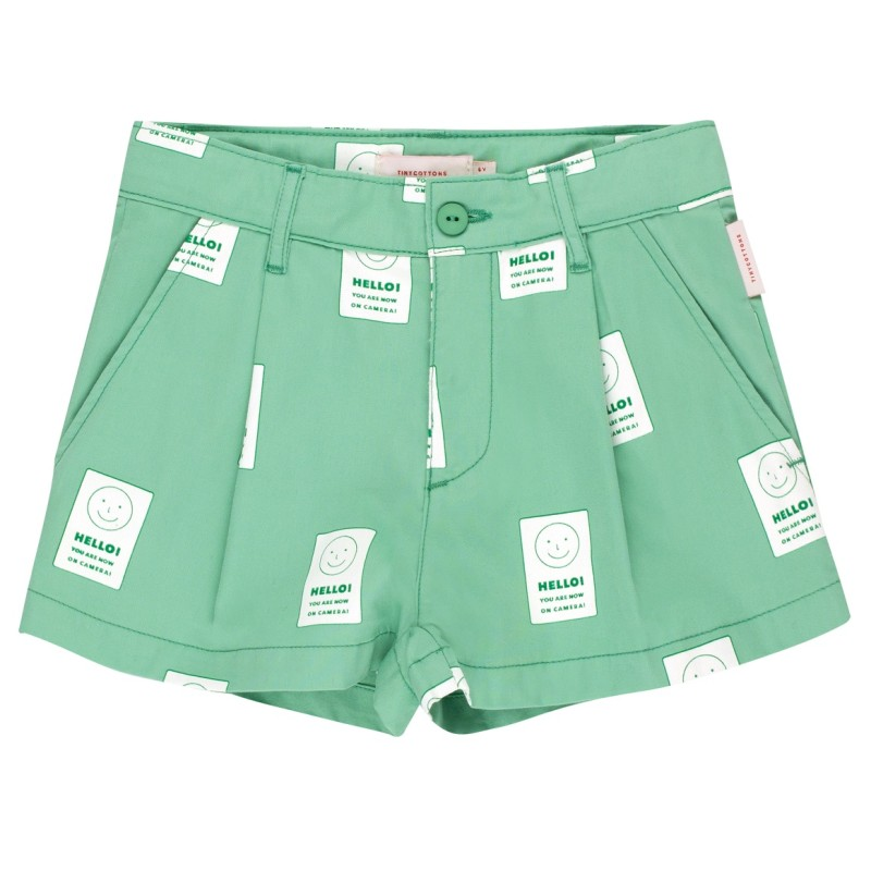 Tinycottons Hello Pleat Short Emerald/Off-White