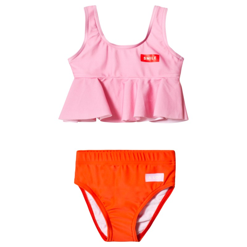 Tinycottons Smile Frill Swim Set Pink/Red