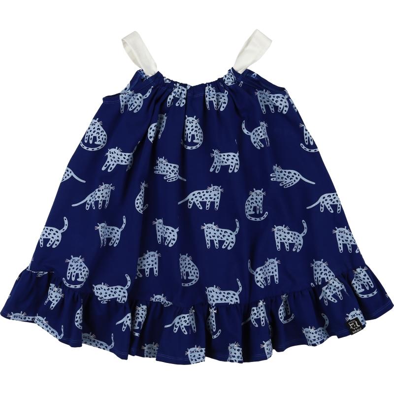 Kukukid bow dress berry blue cheetah