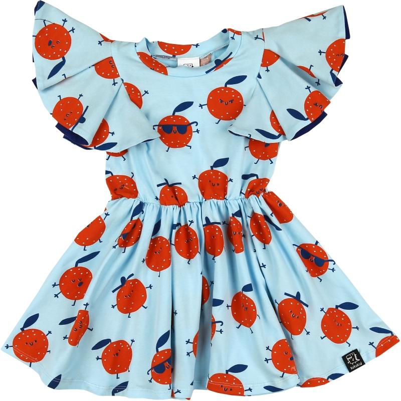 Kukukid pompon dress light blue oranges