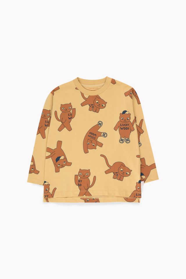 Tinycottons Cats Ls Tee Sand/Brown