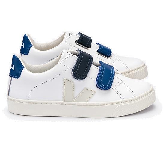 Veja Esplar Small Velcro Leather Extra White Pierre Velcro Blue