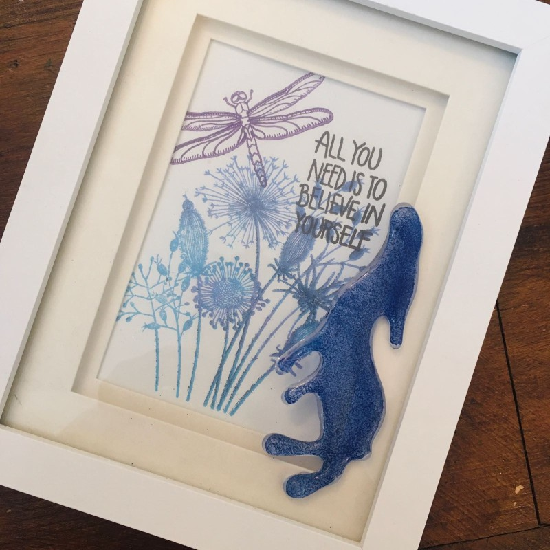Beautiful 'believe' frame with fused glass hare
