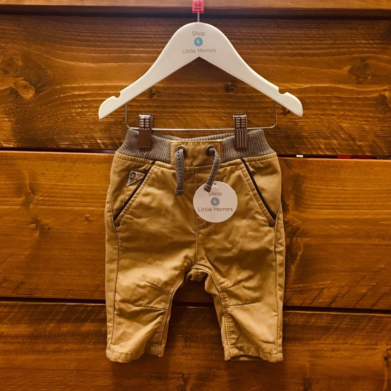 TED BAKER BEIGE WITH GREY WAISTBAND TROUSERS 0-3M
