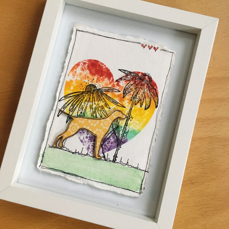 Watercolour  pointer frame  painted on cotton rag paper
