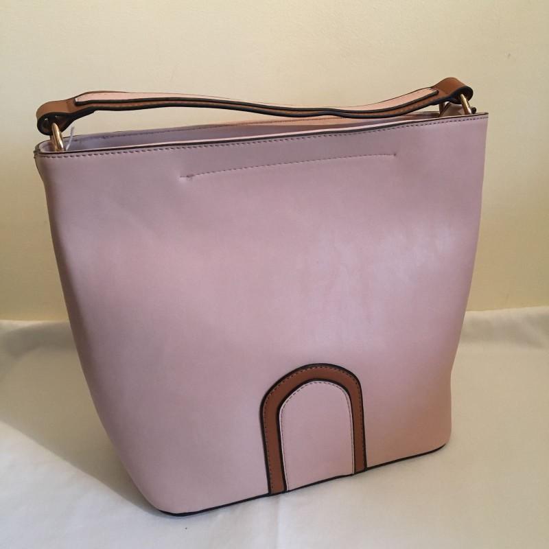 2 Tone Bucket Handbag - Blush Pink