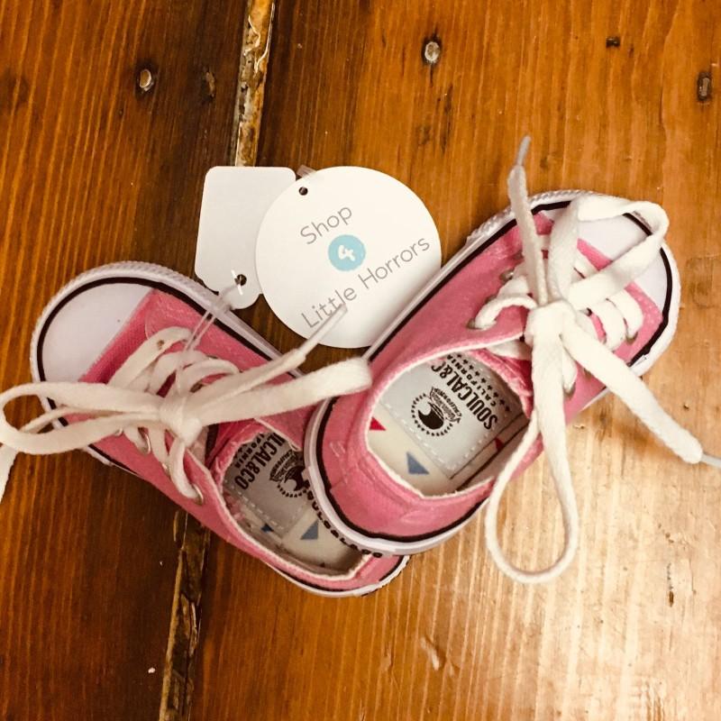 SOULCAL&CO PINK CANVAS BABY SHOE SIZE EU19.5 UK3