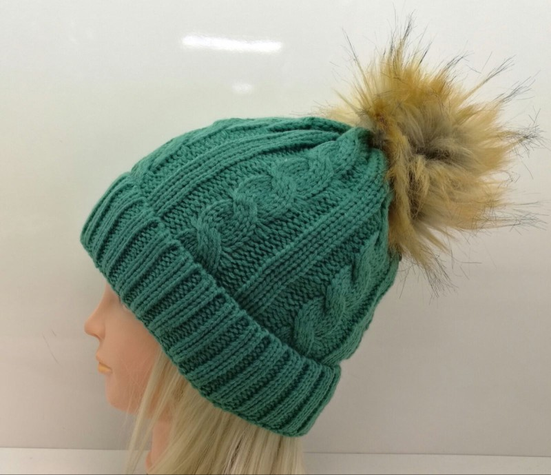 Chunky Knit Fleece Lined Hat - Green with Brown Pom Pom