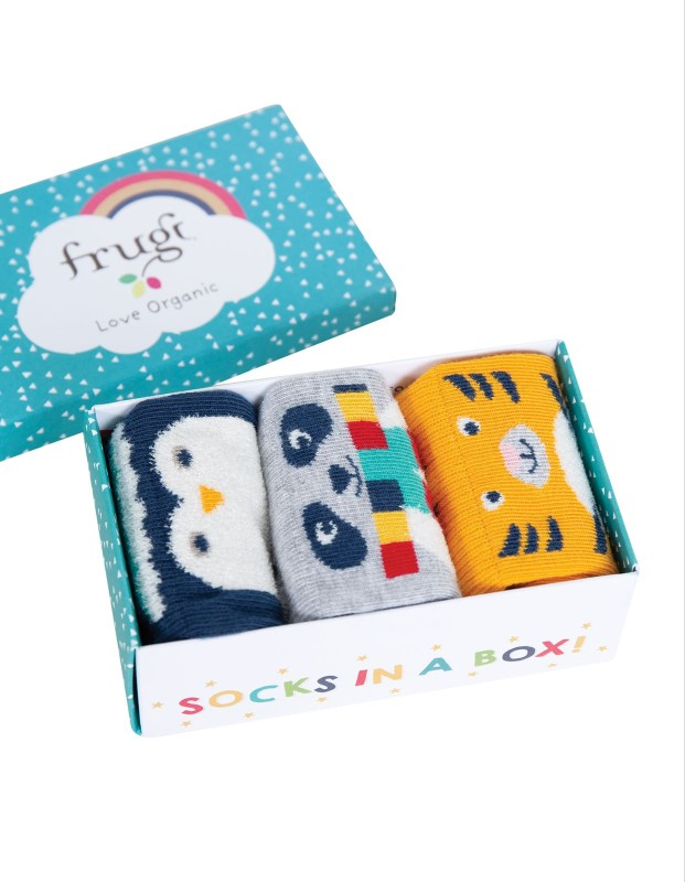 Frugi Pawsome Socks in a Box Cosy Creatures Multipack