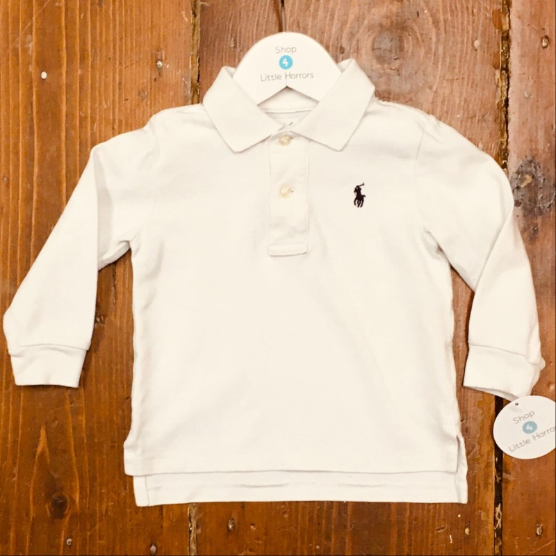 RALPH LAUREN WHITE LONG SLEEVED POLO TOP 12M