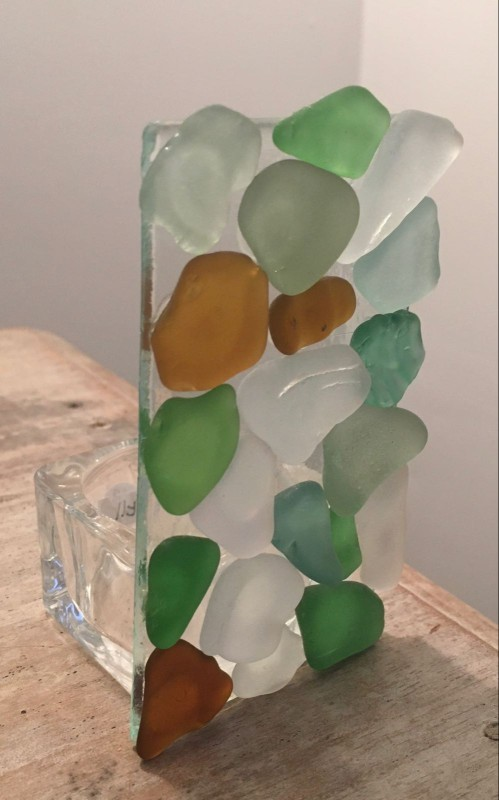 Seaglass tealight holder