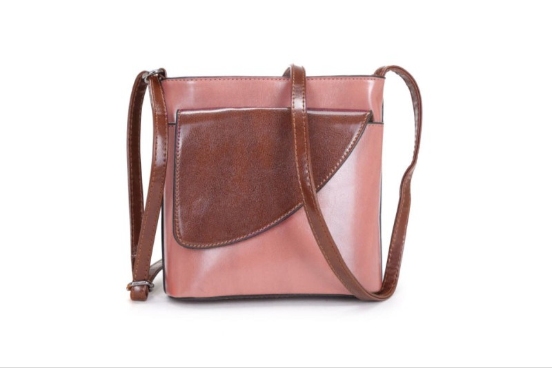 2 Tone Small Cross Body Handbag - Dusky Pink