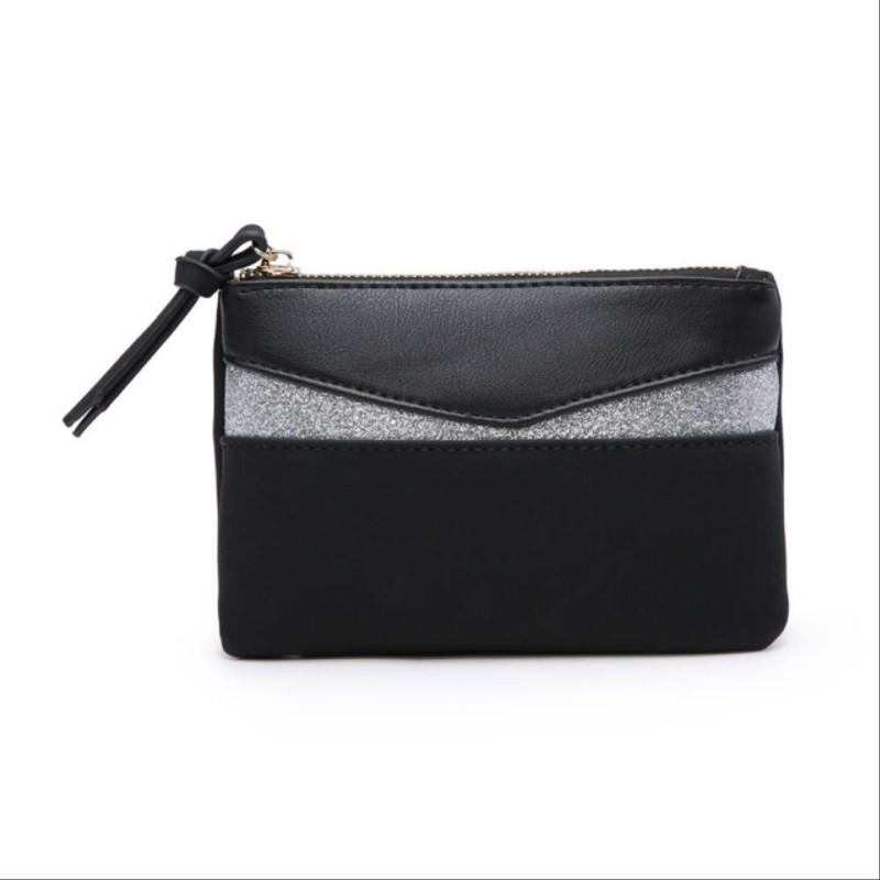 Glitter Zip Purse (fully lined) - Black