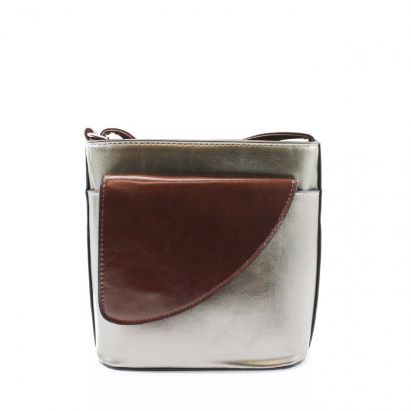 2 Tone Small Cross Body Handbag - Pewter