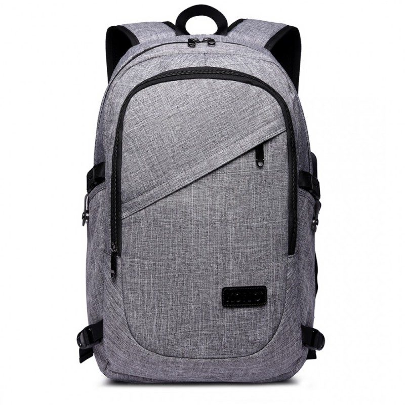 Kono Laptop Backpack with USB Charging Port - Grey