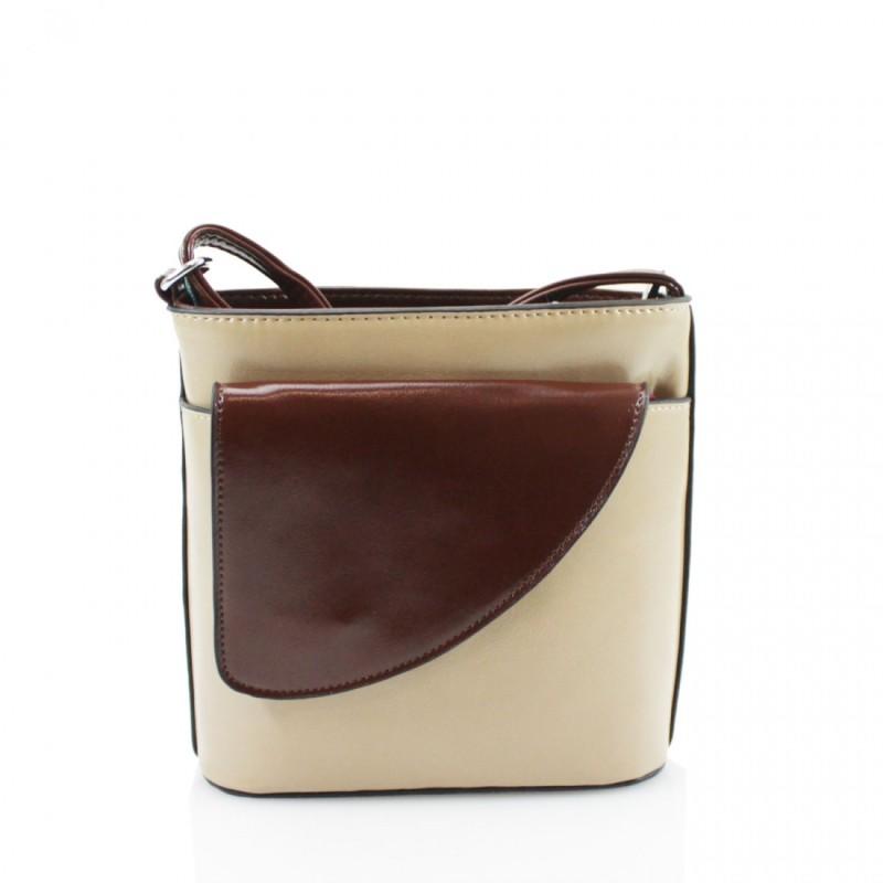 2 Tone Small Cross Body Handbag - Khaki