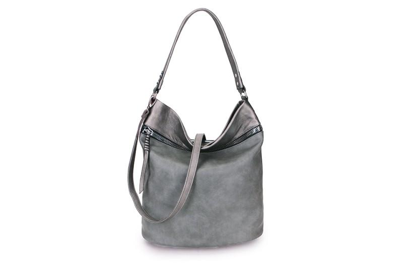 Large Soft Multi Pocket Detail Shoulder Bag - Grey/Pewter