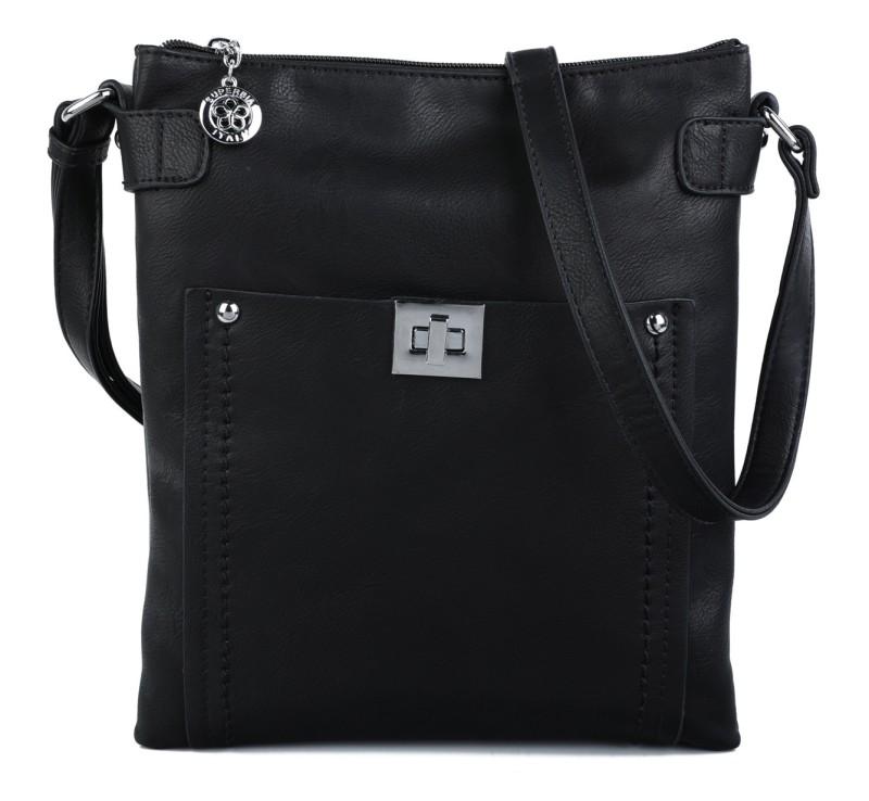 Cross Body Messenger Handbag - Black
