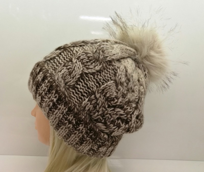Chunky Knit Fleece Lined Hat with Pom Pom - Cream/Brown