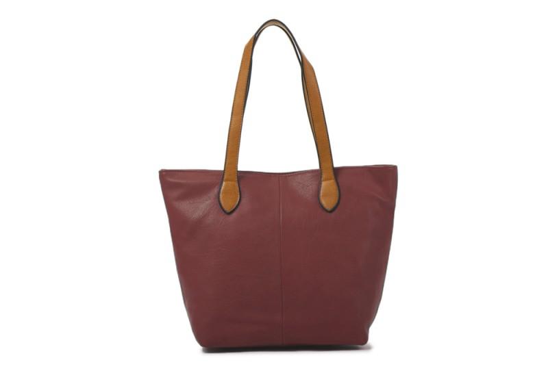 Bucket Bag with Contrast Handles - Wine