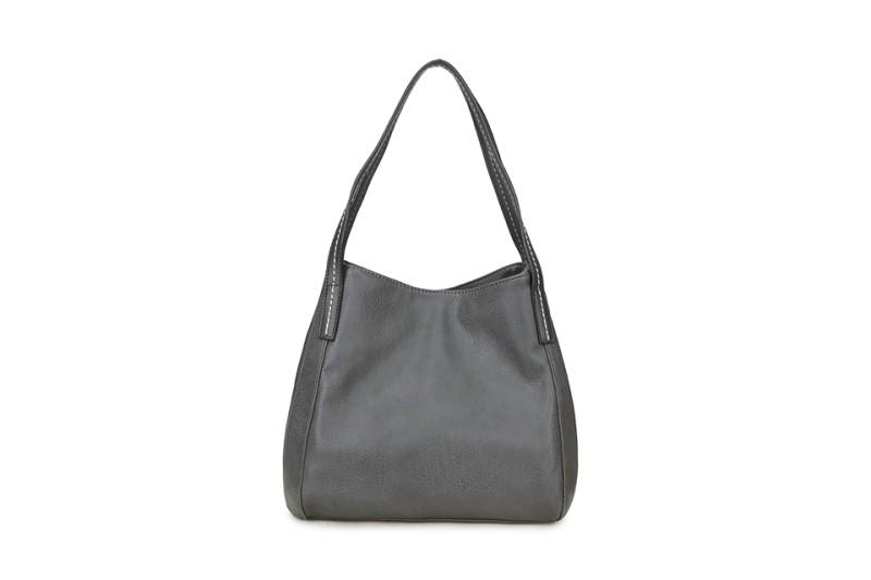 3 Section Stitched Shoulder Bag - Dark Grey