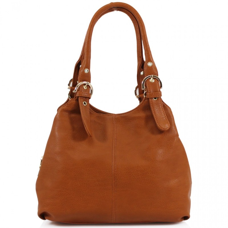 3 Section Buckle Bag - Tan