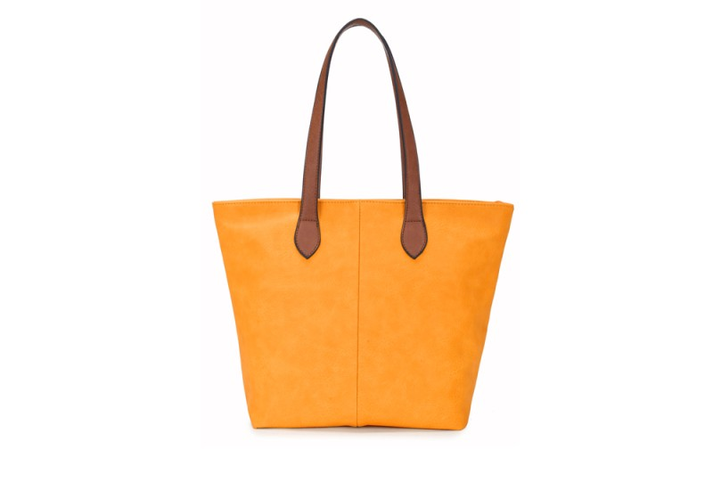 Bucket Bag with Contrast Handles - Yellow