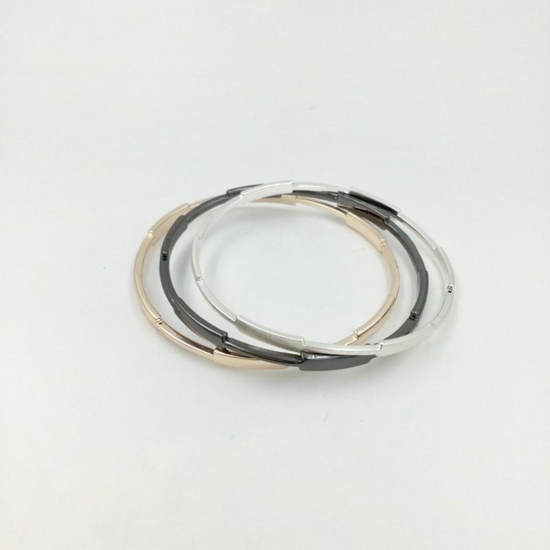Set of 3 Bangles - Black/Silver/Rose Gold