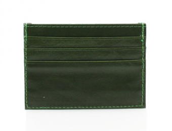Leather Card Wallet - Bottle Green