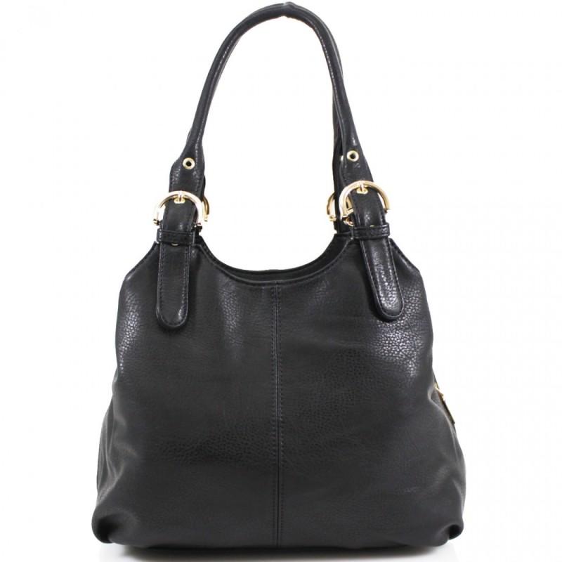 3 Section Buckle Bag - Black