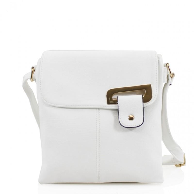 Asymmetric Multi Pocket Messenger Bag - White