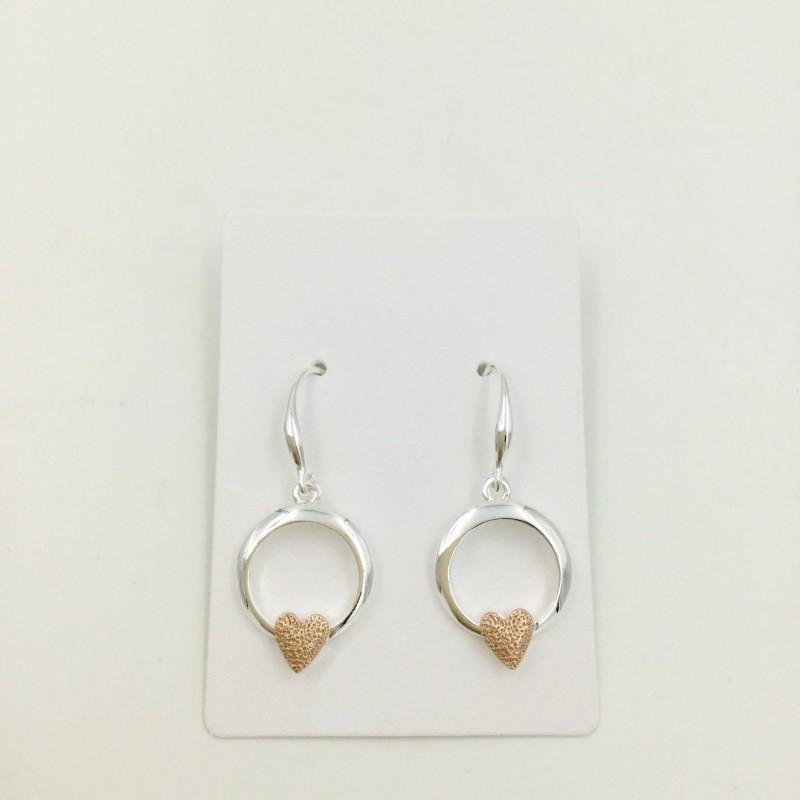 Heart in Circle Earrings