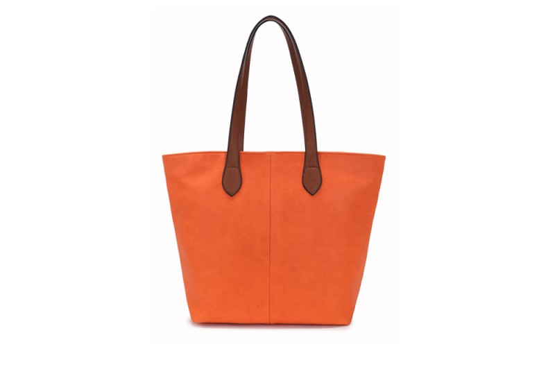 Bucket Bag with Contrast Handles - Orange