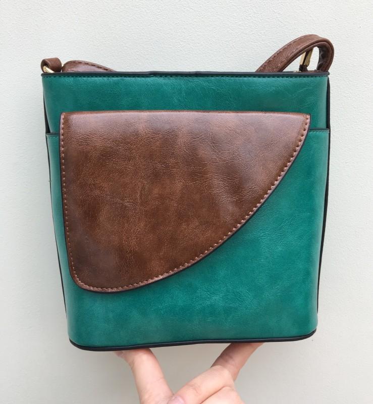 2 Tone Small Cross Body Handbag - Teal