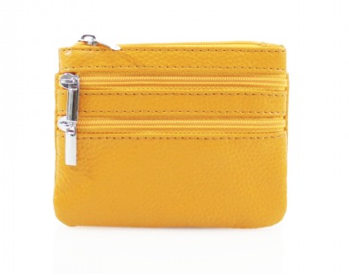 Leather 3 Zip Keyring Coin Purse - Yellow