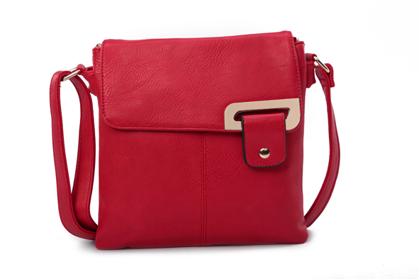 Asymmetric Multi Pocket Messenger Bag - Red