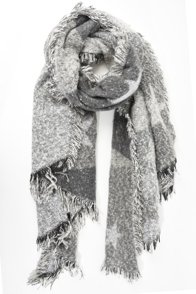 Multi Tone Asymmetric Star Scarf - Grey