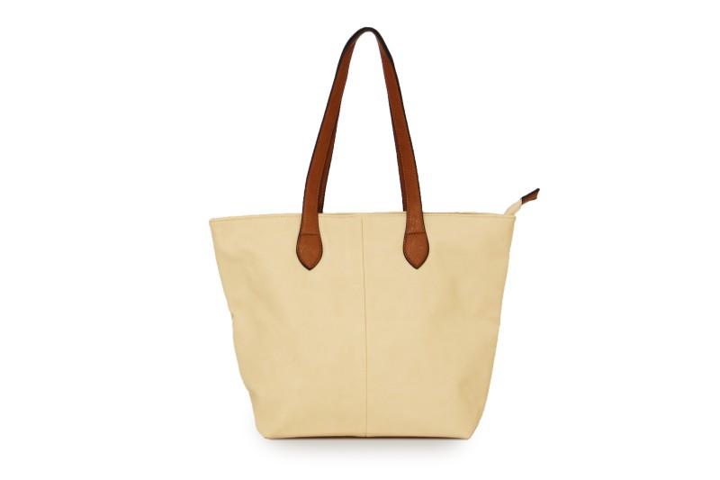 Bucket Bag with Contrast Handles - Cream